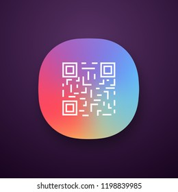 QR code app icon. UI/UX user interface. Matrix barcode identification. 2D data code. Two-dimensional barcode. Web or mobile application. Vector isolated illustration