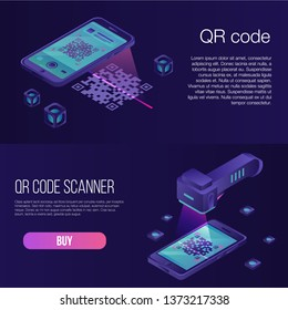 QR code banner set. Isometric set of QR code vector banner for web design