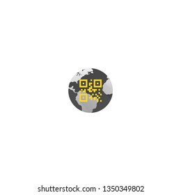 Qr Code, barcode on earth globe vector icon. 3D Security, internet protection.