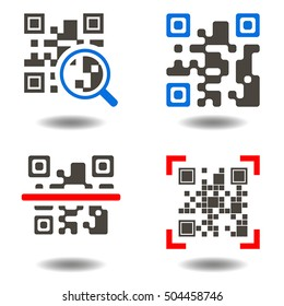 Qr code button. QR-code symbol. Icon set purchase by scanning qr code. Scan qrcode, internet shop, scanning barcode, business, technology. Vector illustration eps10.