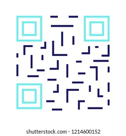 QR code color icon. Matrix barcode identification. 2D data code. Two-dimensional barcode. Isolated vector illustration