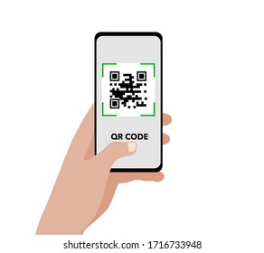 Qr Code Concept. A hand holding smartphone and scanning barcode isolated on white.