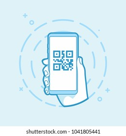 QR code icon on smartphone screen. Hand holding smartphone. Modern vector outline object.