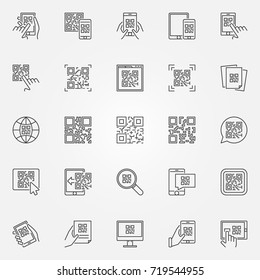 QR Code icons set. Vector collection of quick response code concept symbols or design elements in thin line style