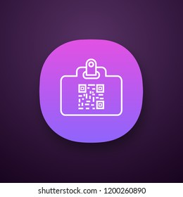 QR code identification card app icon. Name badge with matrix barcode. ID card with 2D code. Two dimensional barcode data. UI/UX user interface. Web or mobile application. Vector isolated illustration
