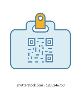 QR code identification card color icon. Name badge with matrix barcode. ID card with 2D code. Two dimensional barcode data. Isolated vector illustration