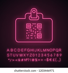 QR code identification card neon light icon. Name badge with matrix barcode. ID card with 2D code. Two dimensional barcode data. Glowing sign with alphabet, numbers. Vector isolated illustration