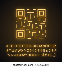 QR code neon light icon. Matrix barcode identification. 2D data code. Two-dimensional barcode. Glowing sign with alphabet, numbers and symbols. Vector isolated illustration