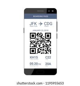QR code on the screen of a smartphone for saving a boarding pass to travel on the plane. Flat design. Vector illustration