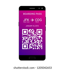 QR code on the screen of a smartphone for saving a boarding pass to travel on the plane. Vector illustration