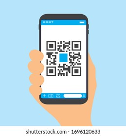 Qr code payment , online shopping , cashless technology concept. Coffee shop accepted digital pay without money , plastic tag on table and hand using mobile phone application to scan qr code.