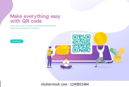 QR code payment vector illustration concept, people use smartphone and scan qr code for payment and everything, can use for, landing page, template, ui, web, mobile app, poster, banner, flyer