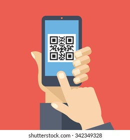 QR code reader app on smartphone screen. Scan QR code. Hand holds smartphone, finger touch screen. Modern concept for web banners, web sites, infographics. Creative flat design vector illustration