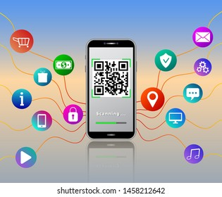 QR code reader mobile app on smartphone touch screen isolated on glossy table with colorful mobile app icons like online shopping cart, padlock, gears, money, location pin, shield and music.