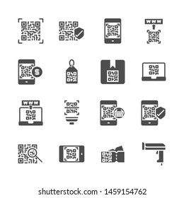 Qr code related in  glyph icon set.Vector illustration