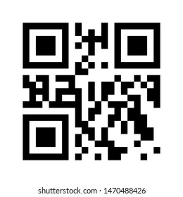 QR code sacn Icon. Mobile qrcode Simbol. Vector black and white illustration isolated on white background.