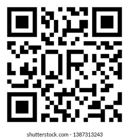 QR code sample icon with letters. Vector illustration.