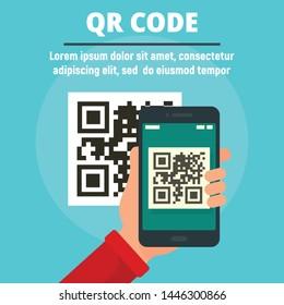 QR code scan concept banner. Flat illustration of QR code scan vector concept banner for web design