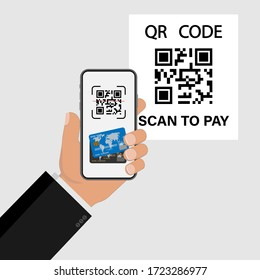 QR code. Scan to pay, online shopping , cashless technology concept. Scanning barcode with telephone. Vector illustration
