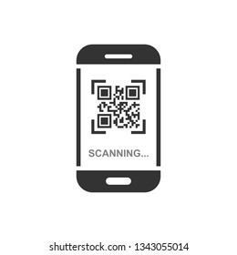 Qr code scan phone icon in flat style. Scanner in smartphone vector illustration on white isolated background. Barcode business concept.
