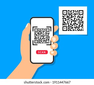 QR code scan to smartphone. Qr code for payment. Mobile phone scanning QR-code. Verification. Vector illustration.