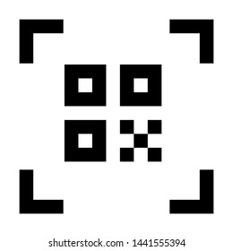 QR code scan. Stroke outline style. Vector. Isolate on white background.