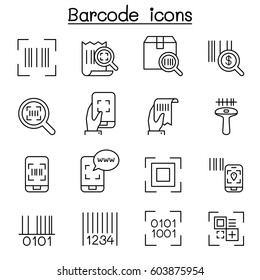 QR Code , Scanner, Package Code & Barcode Reader icon set in thin line style