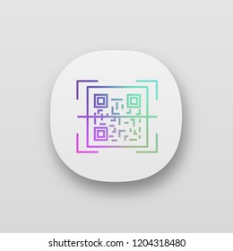 QR code scanning app icon. UI/UX user interface. 2D code reading app. Matrix barcode scanner. Two-dimensional barcode. Web or mobile application. Vector isolated illustration