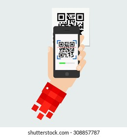 QR code scanning or capture mobile phone. Icon recognition or reading qr code in flat style.