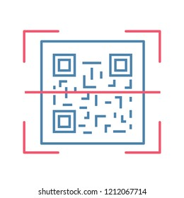 QR code scanning color icon. 2D code reading app. Matrix barcode scanner. Two-dimensional barcode. Isolated vector illustration
