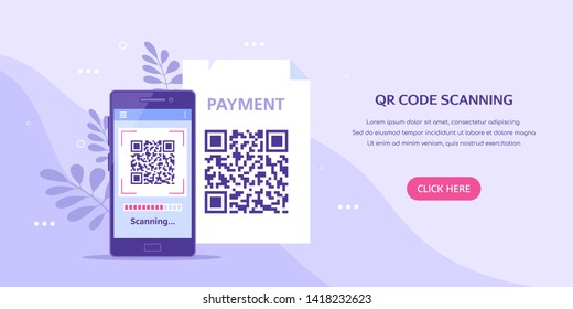 QR code scanning concept banner. Mobile phone with qr code on screen. Flat style illustration.