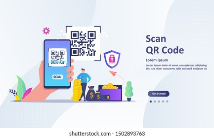 QR Code scanning concept with people scan code using smartphone. Suitable for web landing page, ui, mobile app, banner template. Vector Illustration