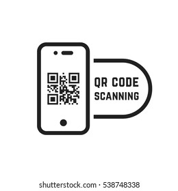qr code scanning like linear black phone. concept of pixel art square, product, promotion label, telephone, screen, device. flat style trend modern logotype graphic design element on white background