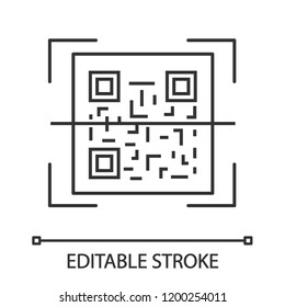 QR code scanning linear icon. 2D code reading app. Thin line illustration. Matrix barcode scanner. Two-dimensional barcode. Contour symbol. Vector isolated outline drawing. Editable stroke