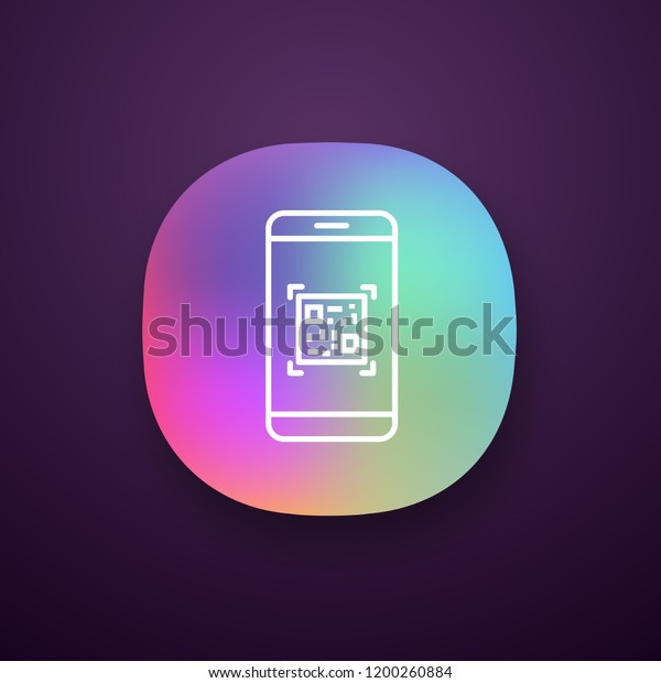 Qr Code Scanning Smartphone App Icon Stock Vector (Royalty