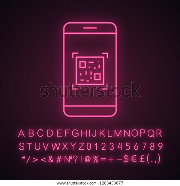 Qr Code Scanning Smartphone App Neon Stock Vector (Royalty Free