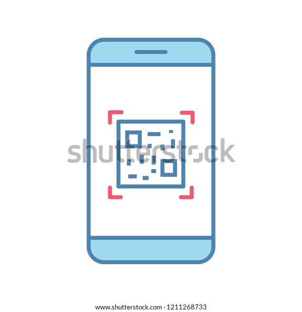 Qr Code Scanning Smartphone App Color Stock Vector (Royalty