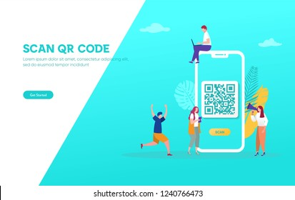 QR code scanning vector illustration concept, people use smartphone and scan qr code for payment and everything, can use for, landing page, template, ui, web, mobile app, poster, banner, flyer\n