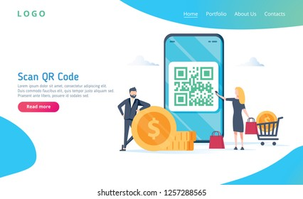 QR code scanning vector illustration concept, people use smartphone and scan qr code for payment and everything, can use for, landing page, template, ui, web, mobile app, poster, banner, flyer