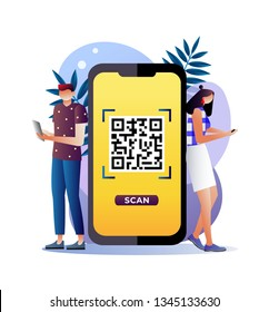 QR code scanning vector illustration concept, people use smartphone and scan QR code for payment and everything, can use for landing page template, ui, web, mobile app, poster, banner, flyer