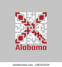 QR code set the color of Alabama flag, The states of America,  Red St. Andrew's saltire in a field of white. text: Alabama.