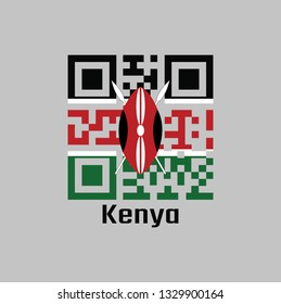 QR code set the color of Kenya flag. A horizontal of black, white red, and green with two crossed white spears behind a red, and black Maasai shield with text Kenya.
