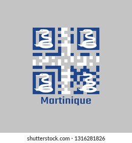 QR code set the color of Martinique flag. Four white snake on blue field and white cross in the center with text Martinique.