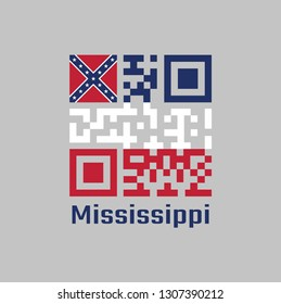 QR code set the color of Mississippi flag. Three horizontal stripes of blue white and red. The canton is square, spans two stripes, consists of a red background with a blue saltire, text Mississippi.