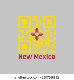 QR code set the color of New Mexico flag. The red and yellow of old Spain. The ancient Zia Sun symbol in red on yellow with text New Mexico.