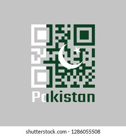 QR code set the color of Pakistan flag, white star and crescent on a dark green field, with a vertical white stripe. text: Pakistan, concept of sale or business.