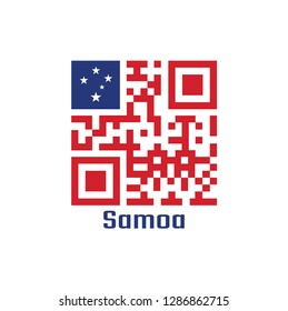 QR code set the color of Samoa flag, A red field with the blue rectangle and white star. text: Samoa.