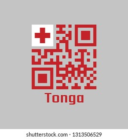QR code set the color of Tonga flag. A red field with the white rectangle on the upper hoist-side corner bearing the red Greek Cross with text Tonga.