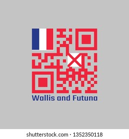 QR code set the color of Wallis and Futuna flag, red saltire on a white square, the flag of France in the upper, text: Wallis and Futuna.