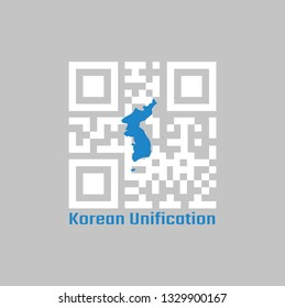 QR code set the color of white and blue South Korea  Korean Peninsula. The Korean Unification Flag, when North and South Korea participate as one team in sporting events.